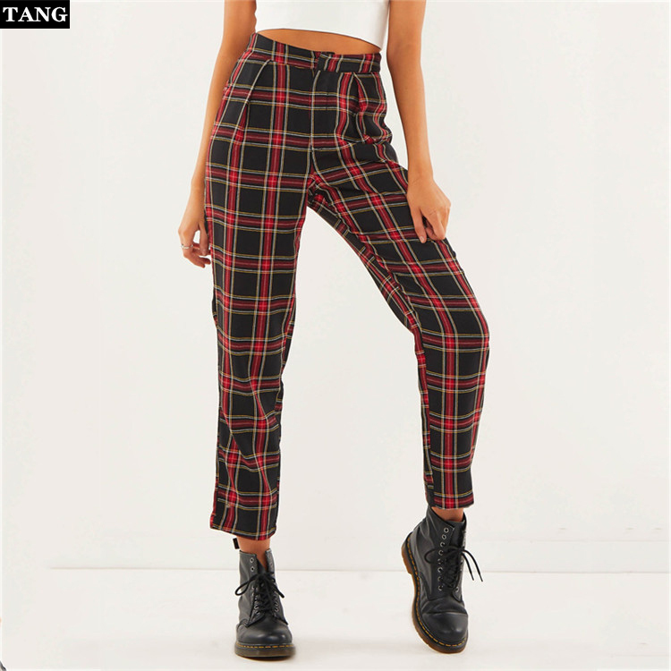 2019 Autumn Cotton Women High Waist Plaid   Pants   Ankle-Length Zipper   Capris   Casual Mid Waist Trousers Pantalon Femme