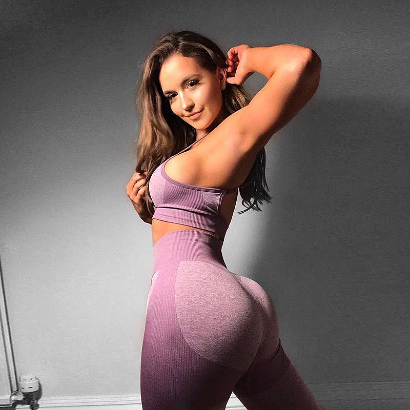 Women's Seamless Yoga Set Stretch Gym Clothing Breathable Fitness Suit Sports Bra Leggings Tight Workout Push Up Female 2020 Hot