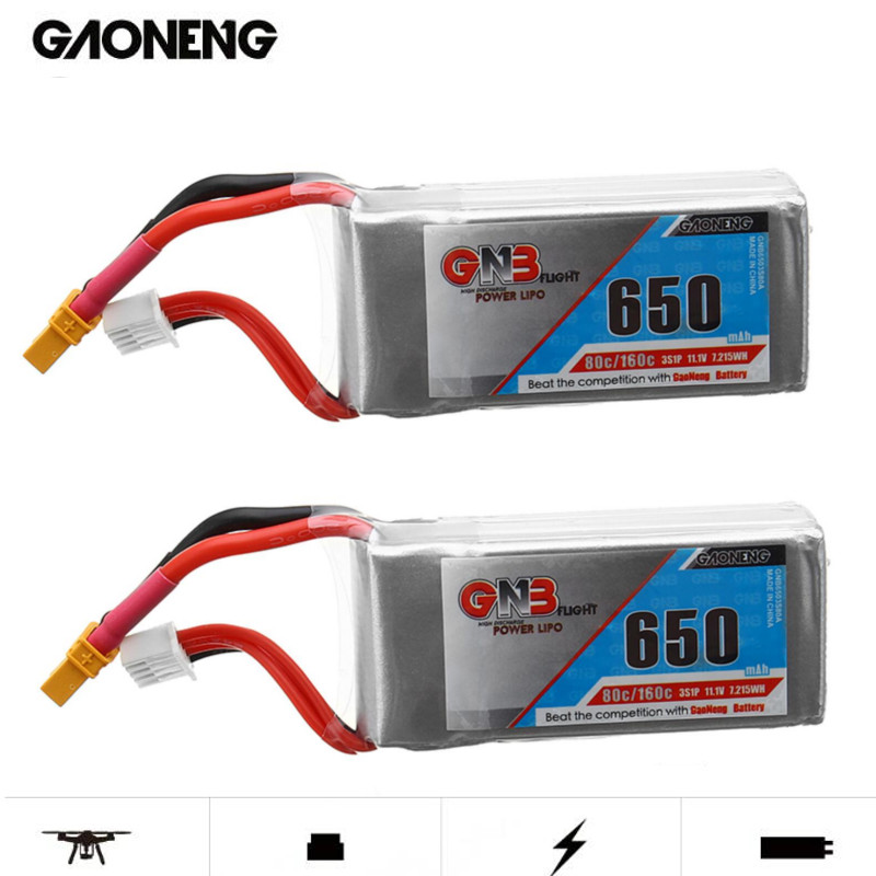 2PCS Gaoneng GNB 11.1V <font><b>650mAh</b></font> 80C/160C <font><b>3S</b></font> <font><b>Lipo</b></font> Battery XT30 Plug For Micro Brushless FPV Racing Drone Quadcopter image