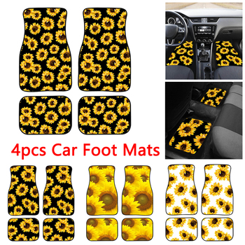 4pcs Sunflowers Printing Universal Car Floor Mats Car Foot Mats Auto Car Carpet For All Cars Anti-Slip Neoprene Auto Foot Pads