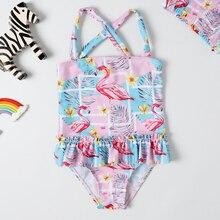 Купальник для маленьких девочек, Цельный купальник, классический стиль, боди, юбка, платье, купальник для девочек, купальник с фламинго