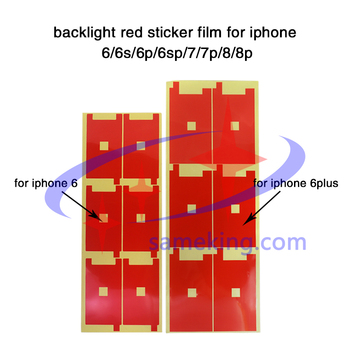 100pcs per lot 4.7inch backlight sticker red film for iphone 6/6s/7/8, 5.5inch for ip6p,6sp,7p,8p in cellphone refurnishment image