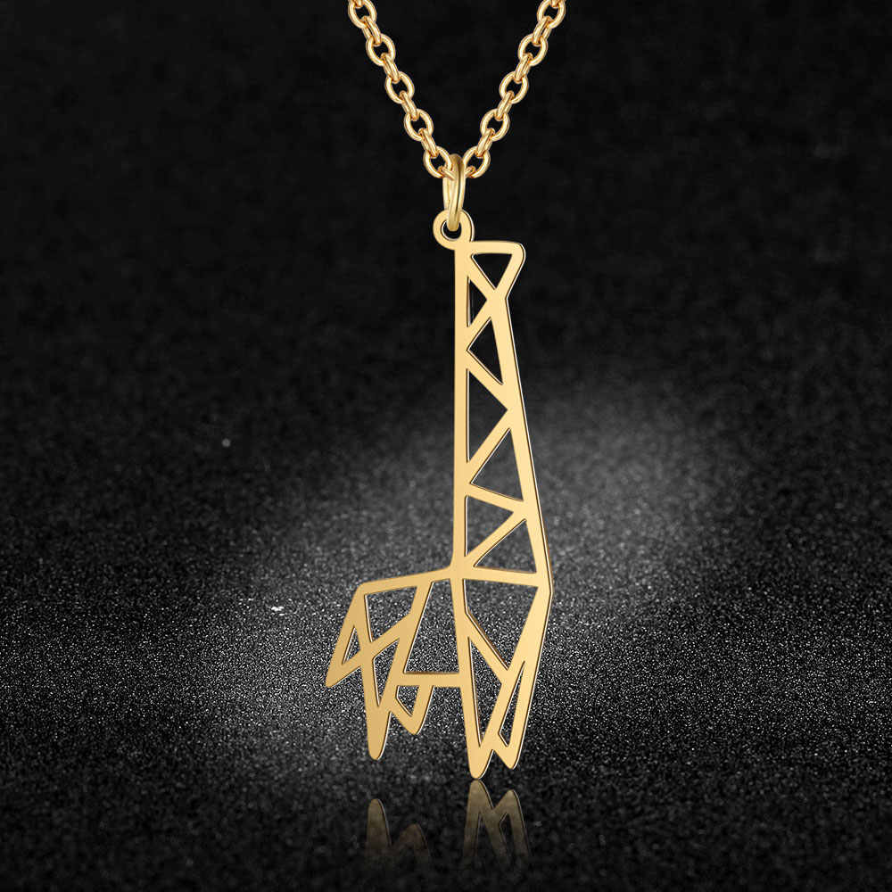 100% Real Stainless Steel Hollow Animal Giraffe Necklace Fashion Animal Pendant Necklaces Personality Jewelry