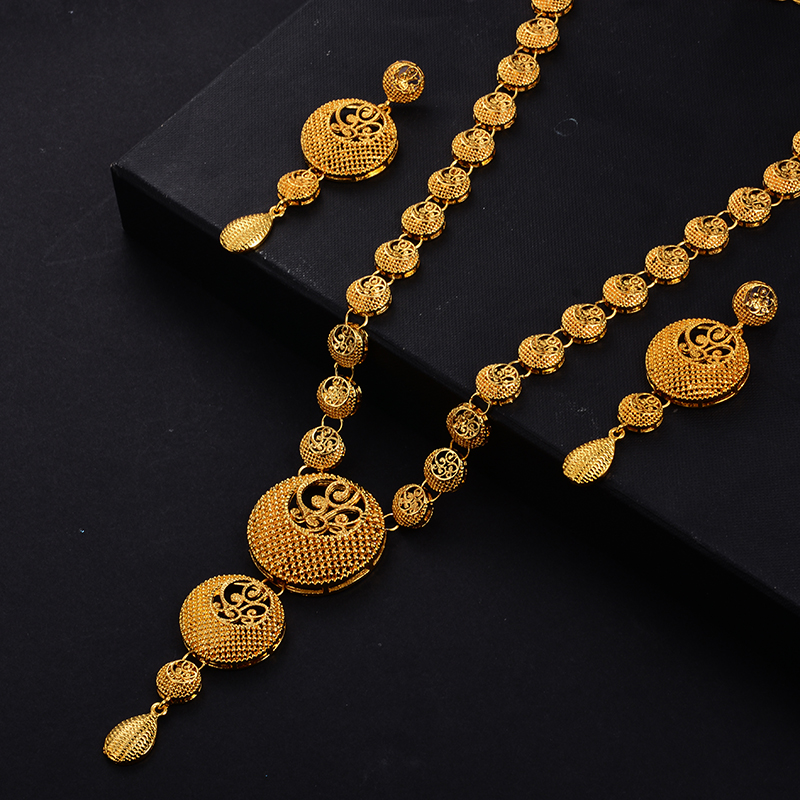 Image 5 - wando India Jewelry Set Gold Color/Copper Necklace Earrings Arab Dubai Wedding Party Jewelr set  MOM Gifts Band Gift boxJewelry Sets   -