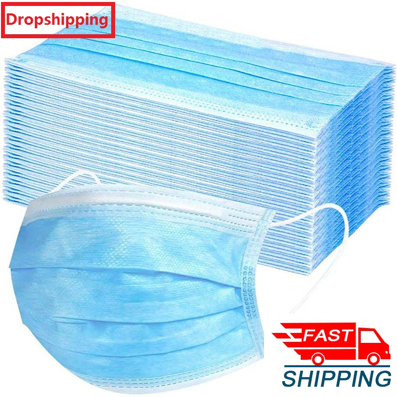 100pcs DROPSHIPPING Disposable Anti dust mask mouth korean blue Face Mask