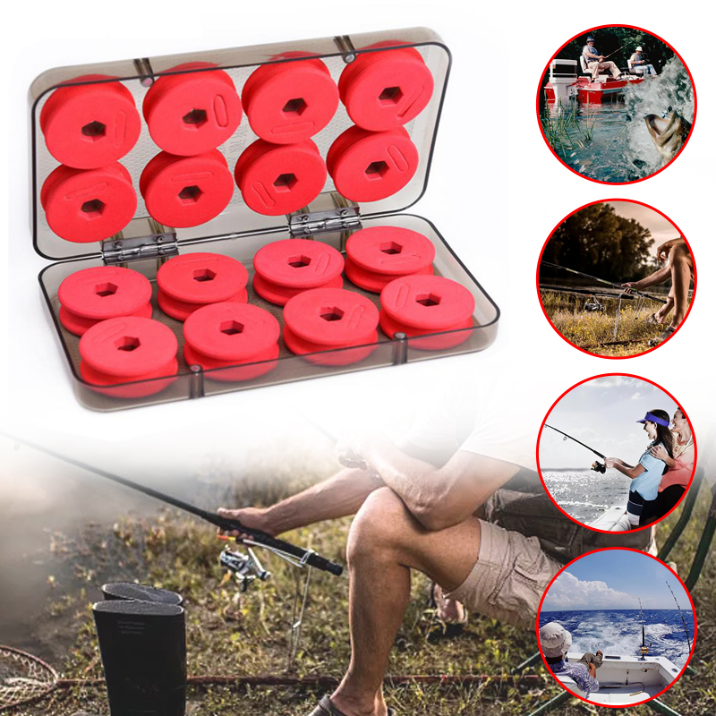 16pcs Foam Winding Board Fishing Line Shaft Bobbin Spools Tackle Box RED Utility Line Box Fishing Tackle Boxes Case