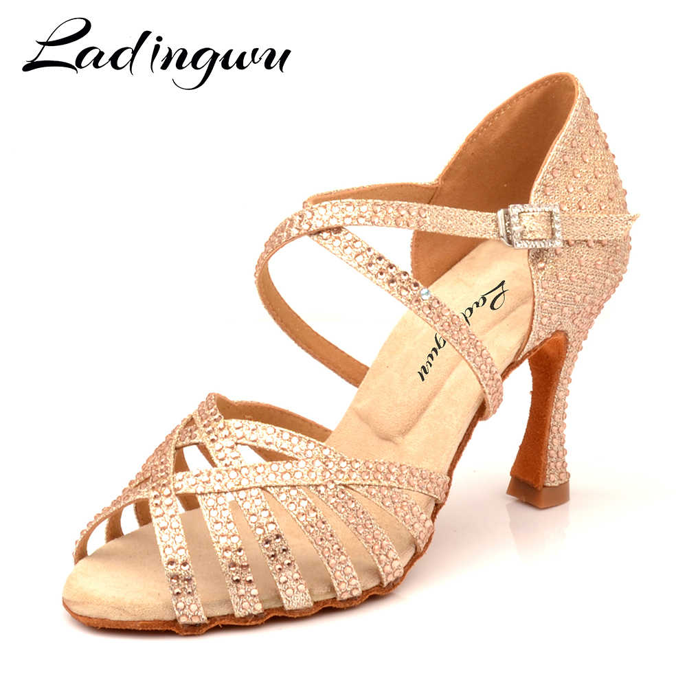 Ladingwu Latin dans ayakkabı altın Glitter Rhinestones şampanya bayan balo salonu dans ayakkabıları Salsa yumuşak ayakkabı yüksek topuk