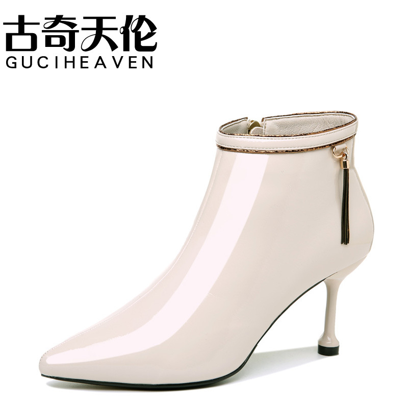 Gucci Tianlun 2019 Autumn New Style Pointed-Toe Thin Heeled Boots Side Zipper Casual Short Boots Waterproof Platform WOMEN'S Sho