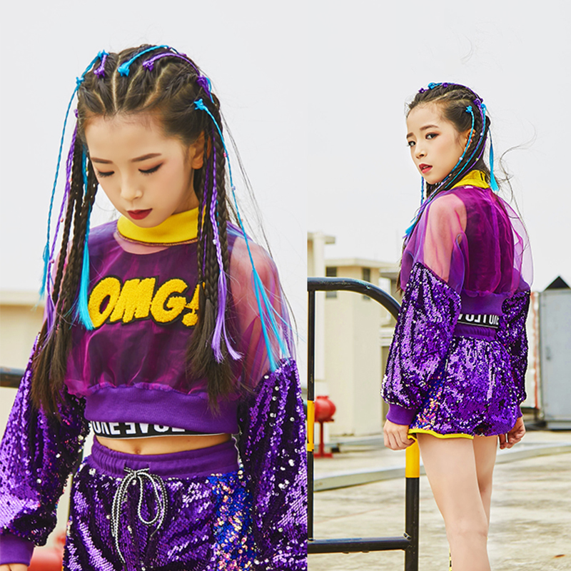 Jazz Dance Costumes Kids Sequin Hip Hop Performance Clothing Street Dance Practice Wear Girls Long Sleeve Rave Outfit DC2999