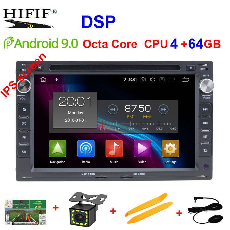 DSP IPS 4G Android 9.0 Car GPS For VW PASSAT B5 B4 JETTA BORA GOLF 4 SHARAN POLO MK5 MK4 MK3 T5 TRANSPORTER for Peugeot 307 dvd image