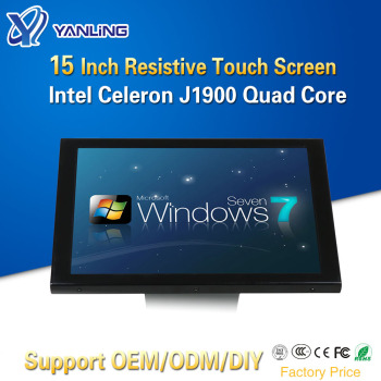 Yanling Factory Price All-In-One Computer Intel J1900 Quad Core Single Lan 15 Inch 5 Wire Resistive Touch Screen PC With 4*USB