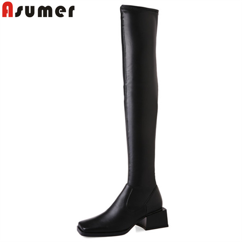 ASUMER Winter Boots Over-The-Knee-Boots Heels Autumn Genuine-Leather Women Fashion Slip-On