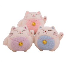 18 cm cute lucky cat chinchilla plush toy soft stuffed plush animal doll lucky cat car decoration children gift WJ558
