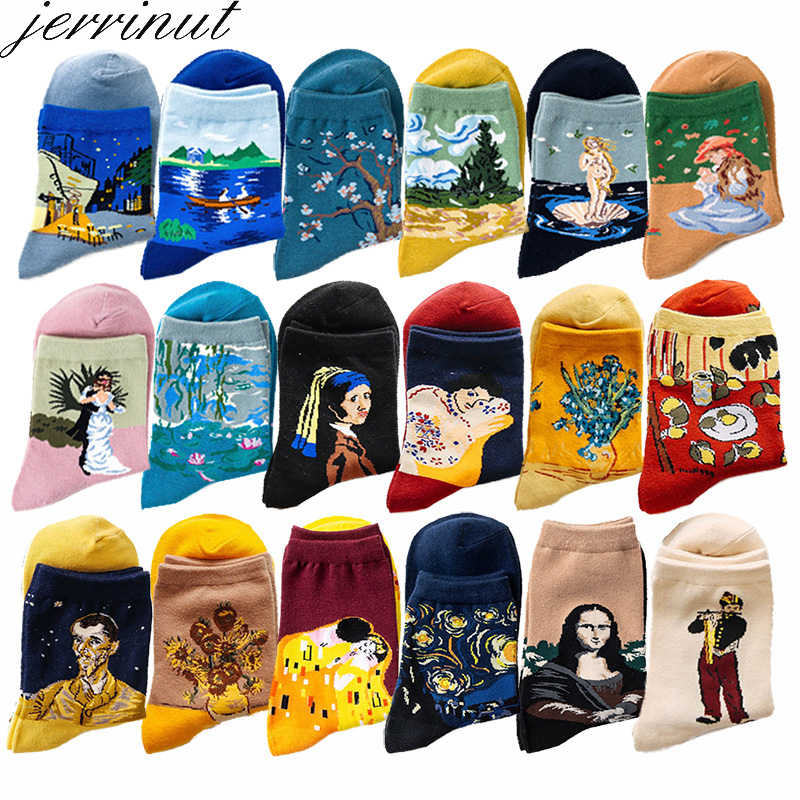 Women Funny Cotton Art Socks With Print Casual Happy Van Gogh Socks Spring Autumn Cute Retro Painting Harajuku Crew Socks 1 Pair