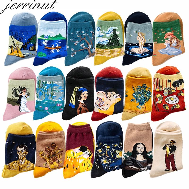 Women Funny Cotton Art Socks With Print Casual Happy Van Gogh Socks Spring Autumn Cute Retro Painting Harajuku Crew Socks 1 Pair