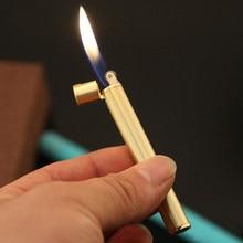 Mini Compact Fackel Leichter Freies Feuer Butan Gas Metall Zigarette Geformt Leichter Schleifen Rad Tasche Leichter Rauchen Zubehör