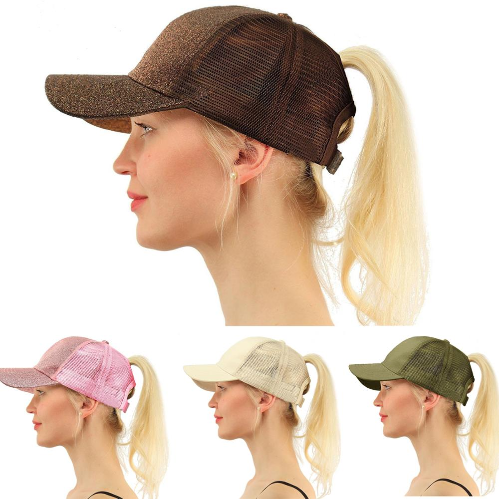 Baseball Cap Men Women Glitter Ponytail Snapback Adjustable Summer Casquette Sunhat Mesh Trucker Hat Gorras Outdoor Cap