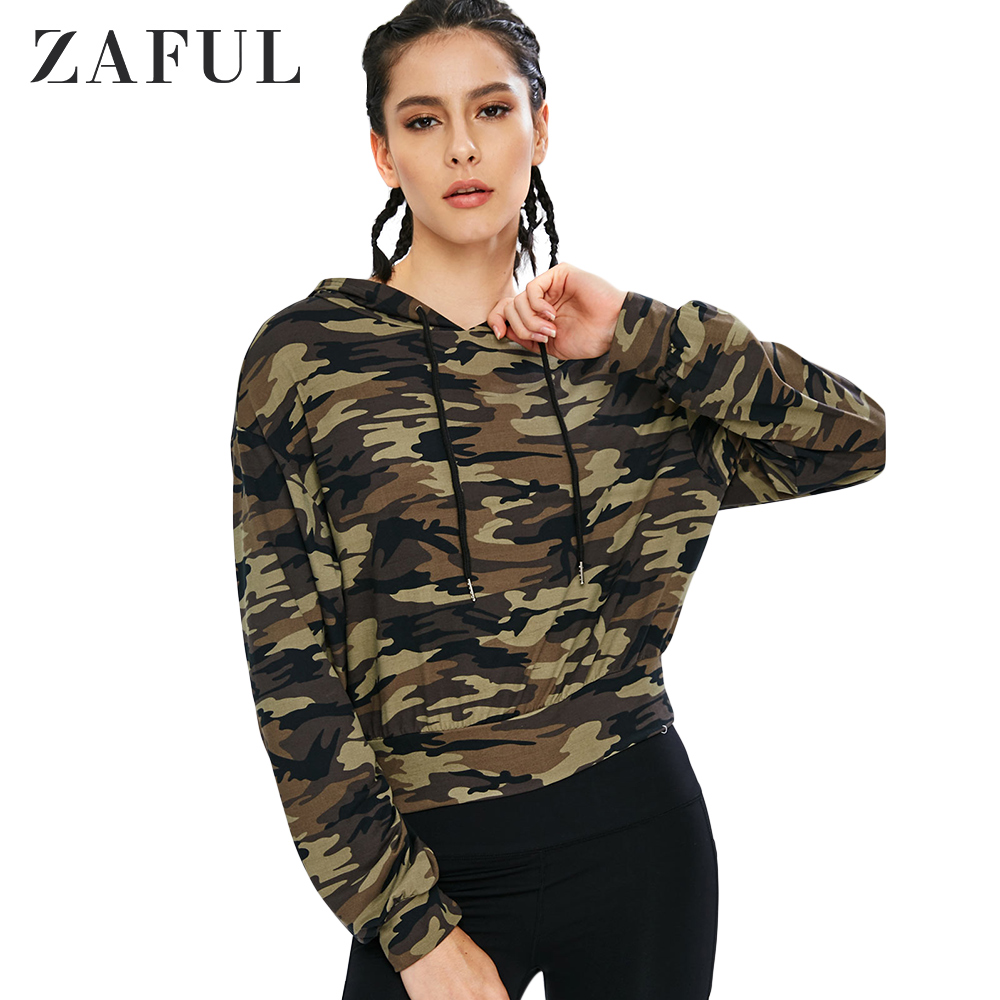 ZAFUL Drawstring Camo Sport Hoodie Drawstring For Women Casual Autumn Long Sleeve Female Pullovers Young Girl Style Fashion
