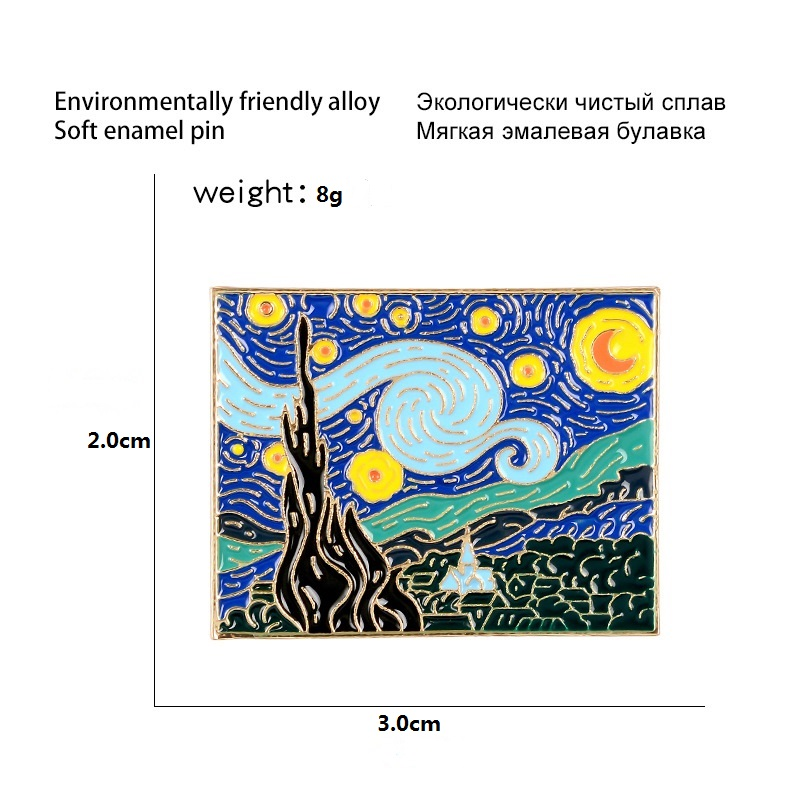Van Gogh Oil Painting Enamel Pin Beautiful Night Badge Brooch Denim Clothes Backpack Abstract Art Jewelry Gift For Friends
