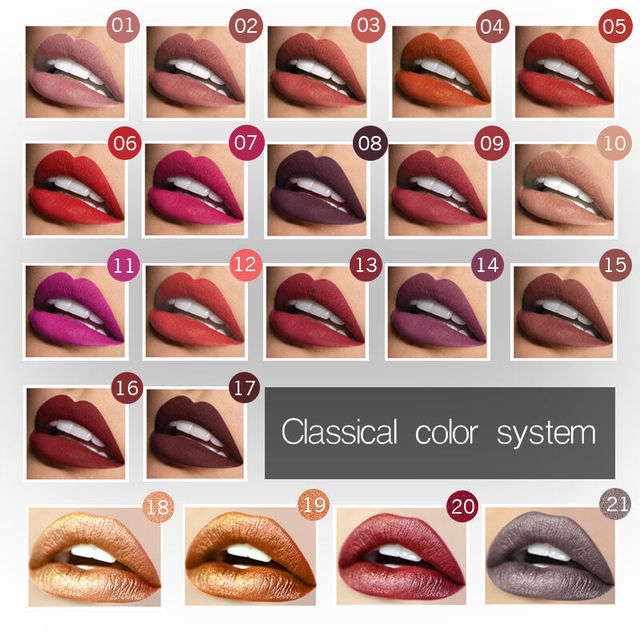 2019 Hot Waterproof Liquid Lip Gloss Metallic Matte Lipstick Cosmetic Sexy Batom Mate Lip Tint Makeup Lasting 24Hours Mate Levre 1