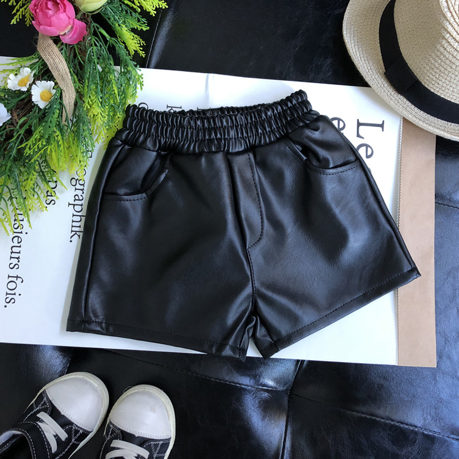Faux Leather Short Girls Winter Fleece Warm Thick Short Pants Children Casual Solid Leather Bottom 3