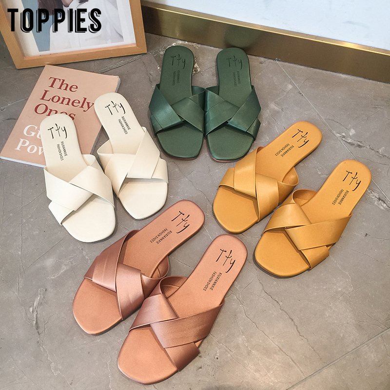 Toppies 2020 Slipper Woman Summer Korean Outside Shoes Flat Bottom Sandals Beach Shoes