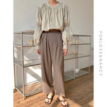Calças de terno marrom do vintage para as mulheres primavera e verão moda alta cintura reta harajuku harem calças 2021 roupas coreanas