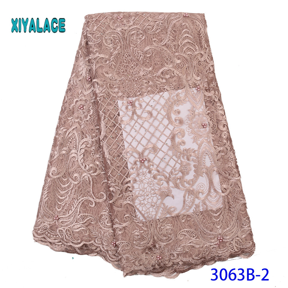 2019 High Quality Embroidered Lace Fabric Nigerian Woman Lace Fabrics Dress African Lace Fabric French Lace Fabric YA3063B-2