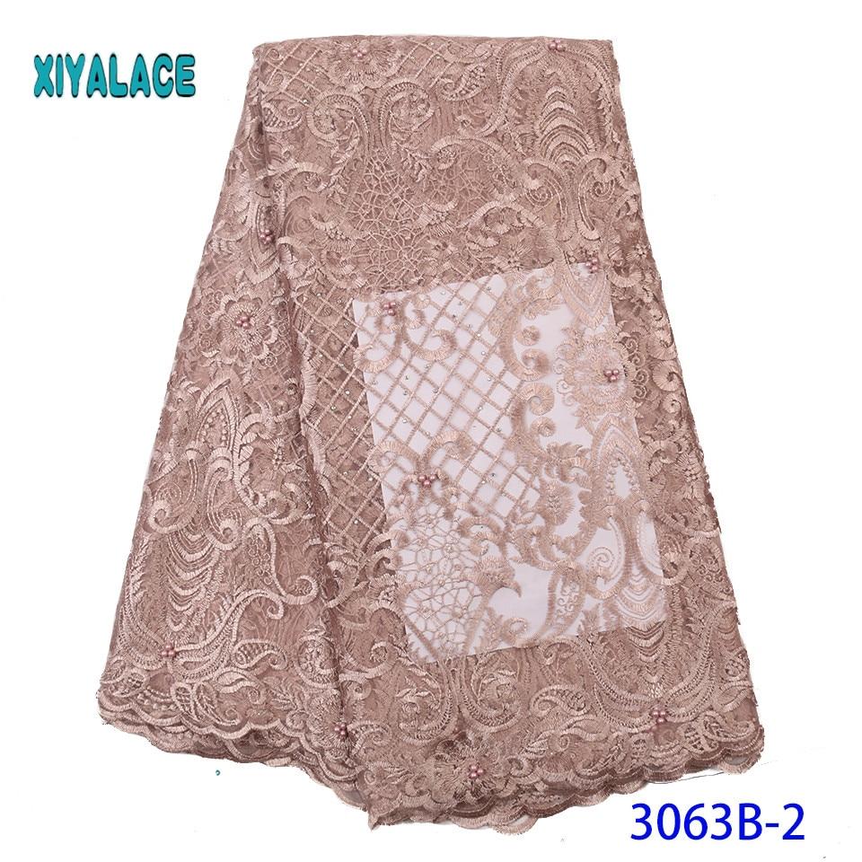 2019 High Quality Embroidered Lace Fabric Nigerian Woman Lace Fabrics Dress African Lace Fabric French Lace Fabric YA3063B-2