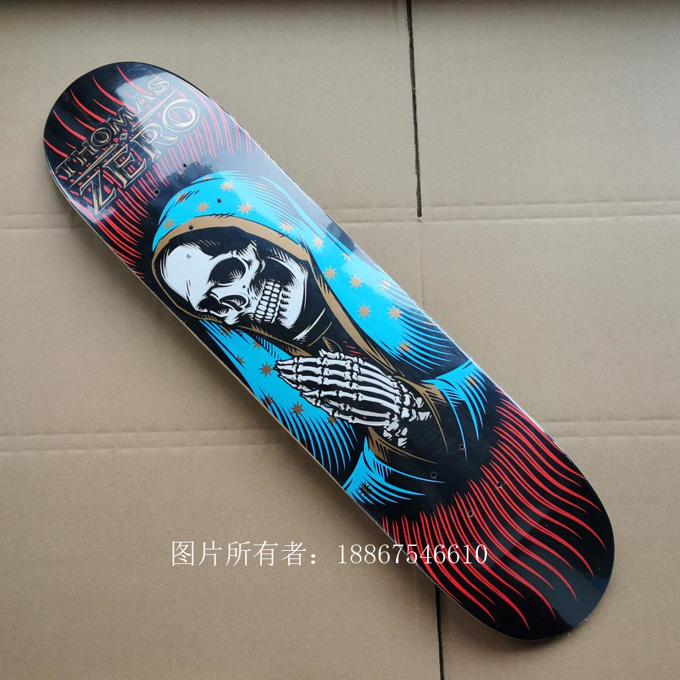 Good Quality ZERO 7 Plies Of Canadian Maple Epoxy Glue Double Kick Skateboard Deck Two Plies Dyed Color Professional Level