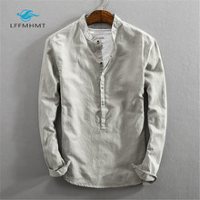 Men Spring Autumn Fashion Brand Japan Style Slim Fit Cotton Linen Solid Color Stand Collar Casual Long Sleeve Shirt Pullovers