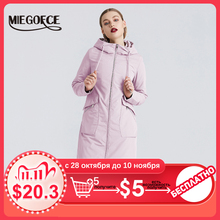 MIEOGOFCE 2020 New Spring Trench Coat Long Womens Windbreaker Warm Womens Cotton Coat With Stand Collar New Design Women Coat