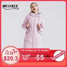 MIEOGOFCE جديد ربيع 2020 خندق معطف طويل المرأة سترة واقية الدافئة المرأة القطن معطف مع الوقوف طوق تصميم جديد المرأة معطف