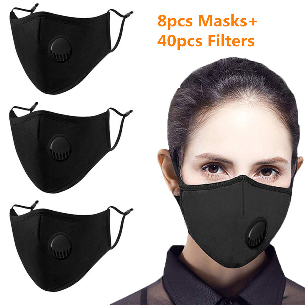 8pcs Masks 40pcs Carbon Filters Mouth Mask Adult Anti Dust Filter Windproof Mouth-muffle Bacteria Proof Black Face Mask Washable