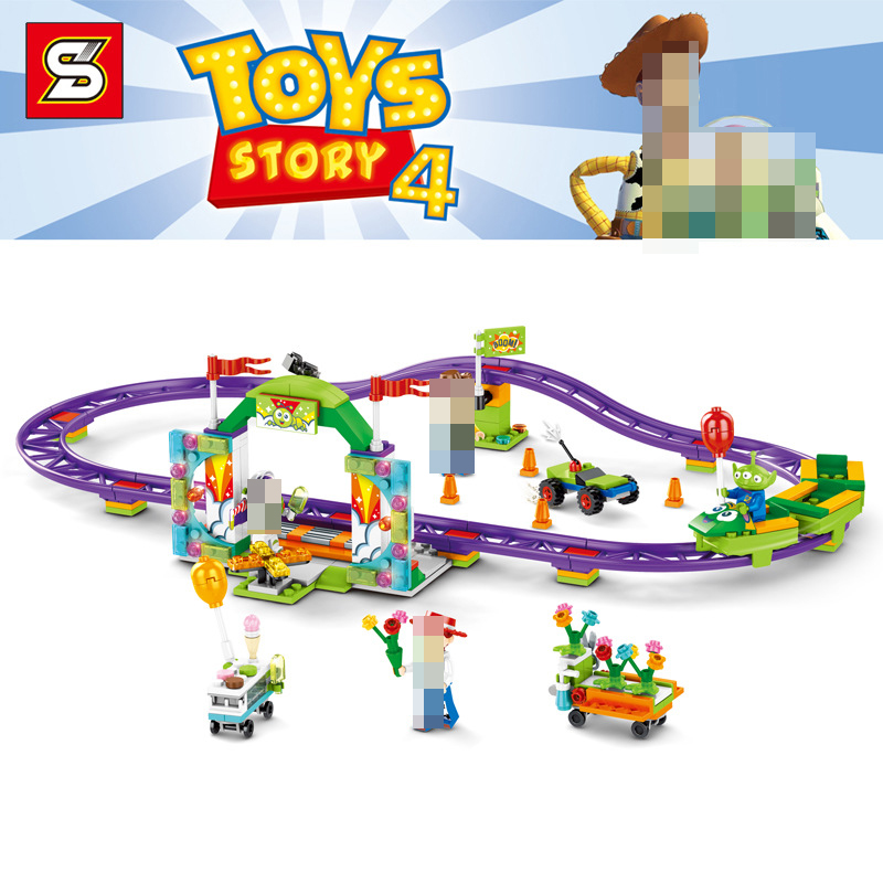 Toys Story 4 Movie Carnival roller coaster 324PCS train building block children toys gift 6697 contain Anime figures IN STOCKBlocks   -