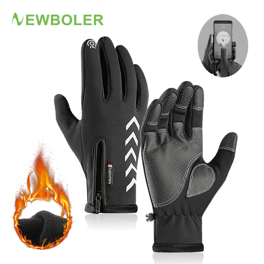 NEWBOLER Thermal Warm Winter Outdoor Sport Cycling Gloves Skiing Touch Screen MTB Road Bike Bicycle Gloves Windproof Full Finger