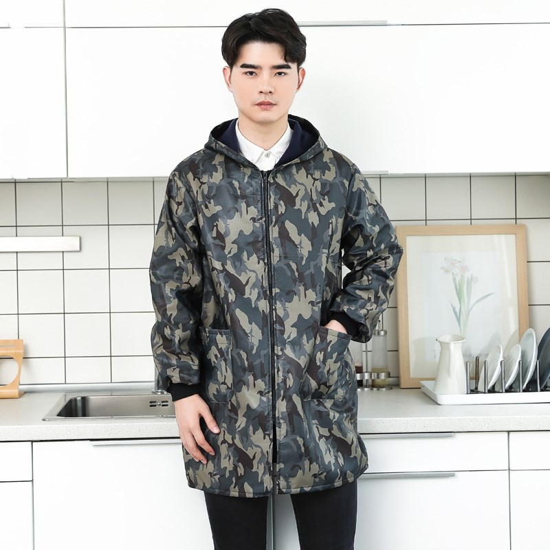 Apron Zip-up Jacket Winter Overclothes Adult Long Sleeve Plush Brushed And Thick Work Clothes Men's Long Unlined Long Gown Long