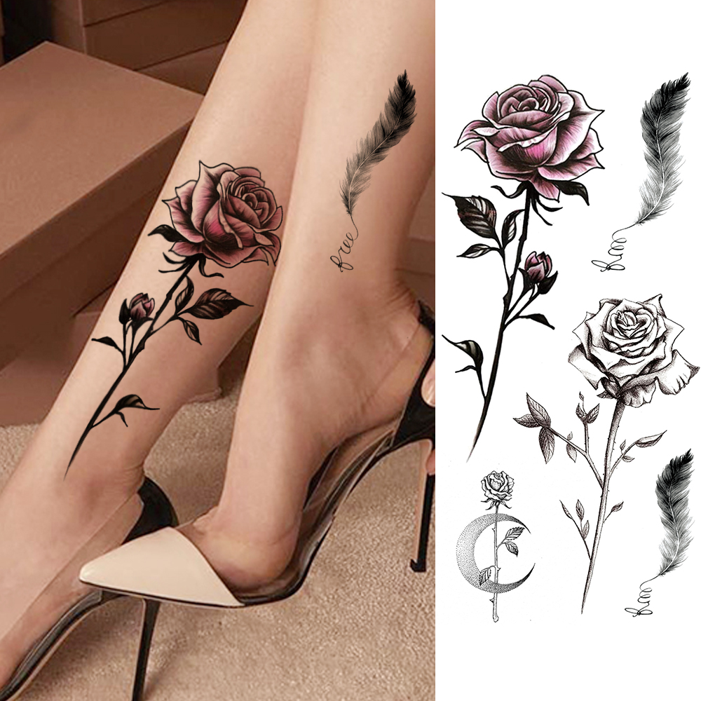 Women's Fashion Flower Temporary Tattoos Sticker Fake Rose Feather TatooS Decal Waterproof Body Art Legs Arm Tatoos For Women