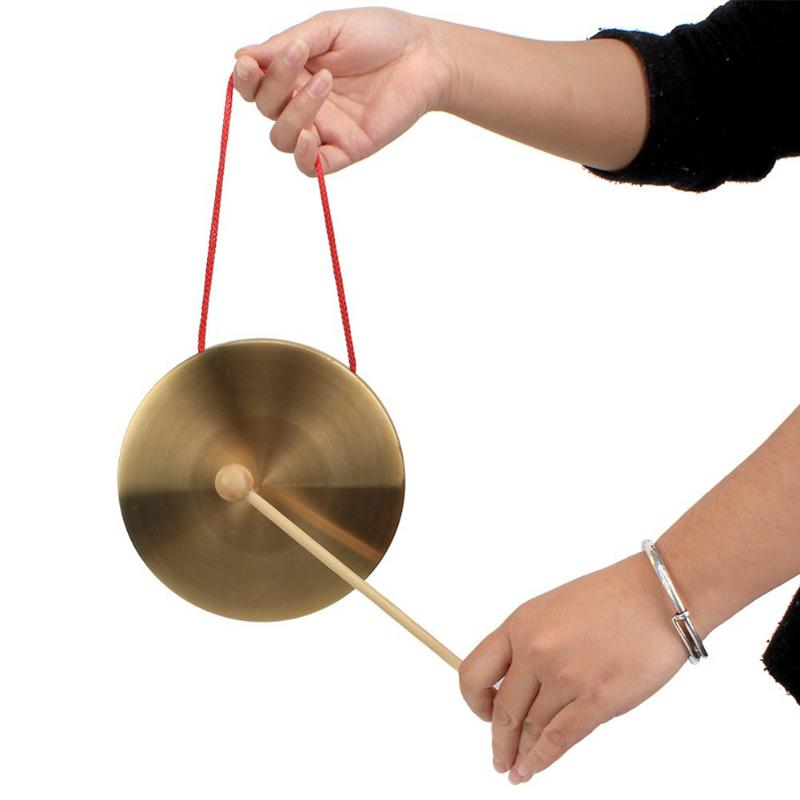 Hand Gong Copper Cymbals With Wooden Stick Chapel Opera Percussion Kids Toy Traditional Chinese Folk Musical Instrument  Toy