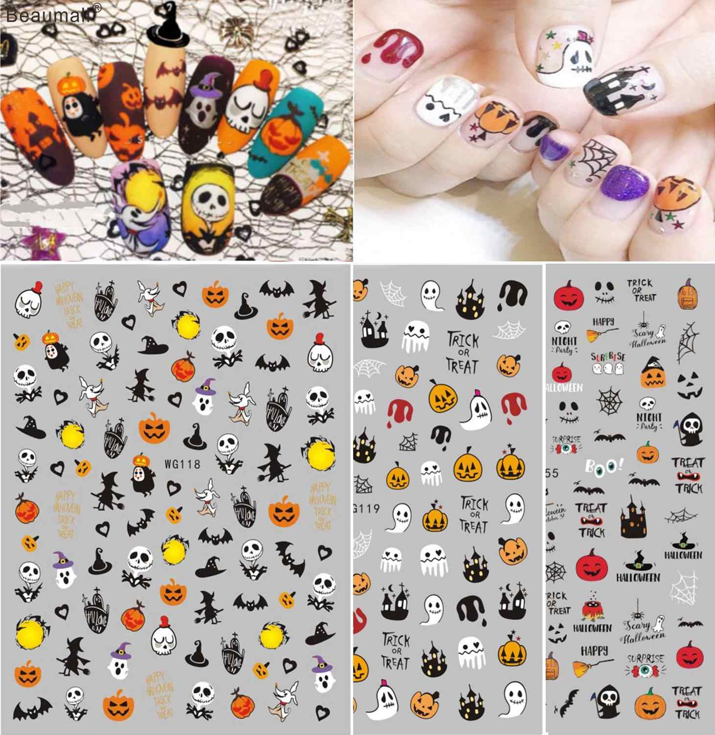 Halloween Nails Art Manicure Terug Lijm Decal Decoraties Nail Sticker Voor Nagels Tips Beauty