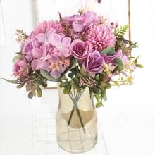 1 Bundle Silk Peony Bouquet Home Decoration Accessories Wedding Party Scrapbook Fake Plants Diy Pompons Artificial Roses Flowers