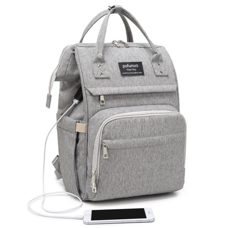 Pofunuo USB Diaper Bag  Travel Backpack Large Capacity Handbag Waterproof Nappy Bag Kits Mummy Maternity Nursing  Bag