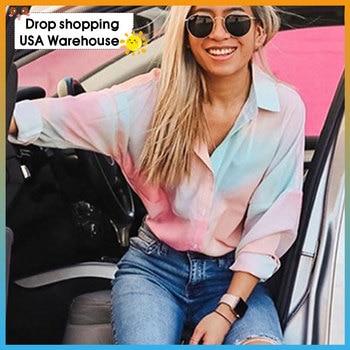 Women Casual Tie-Dye Long Sleeve Blouse 2020 spring autumn women's fashion drop shoulder long-sleeved cardigan shirt shirt women drop shoulder self tie cardigan