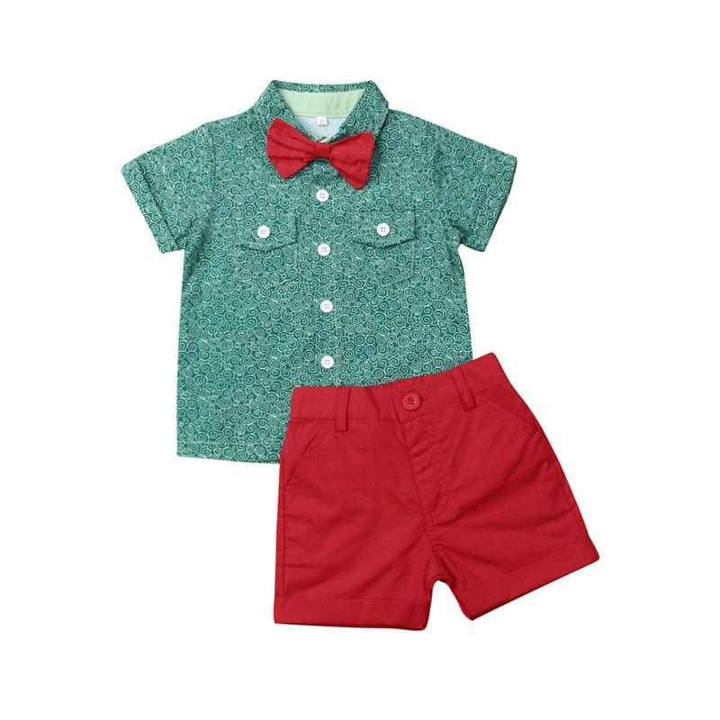 UK Kids Baby Boys Gentleman Outfits Shirt Tops Bib Pants Shorts 2PCS Set Clothes