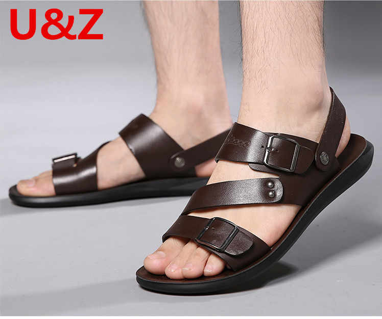 2 modi per indossare Nero Sandali Scarpe Da Uomo Ciabatte Da Spiaggia Moda Piatto Scarpe In Pelle di vitello uomo Pantofole Estive Maschile Sandali di Marca
