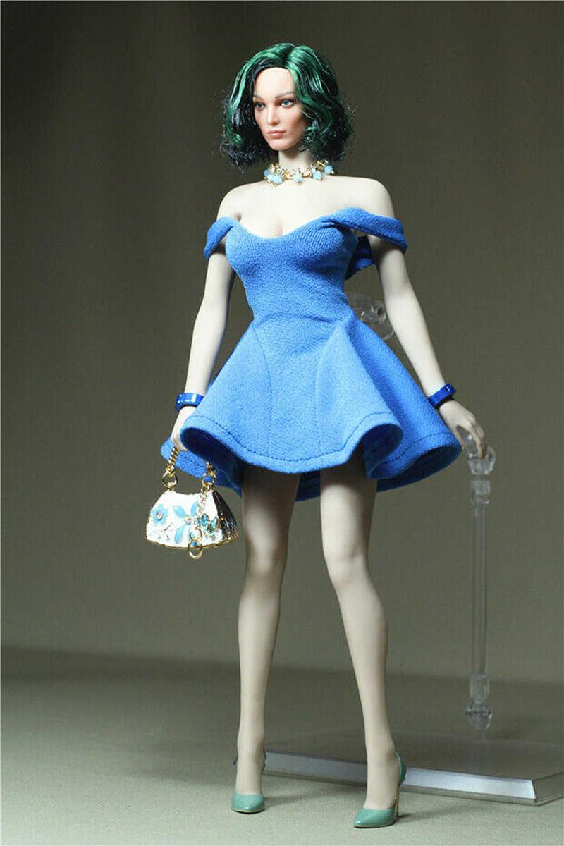 "1//6 Blue Skirt Handbag Necklace Fit 12/"" Female Phicen TBLeague Figure Body Dolls"