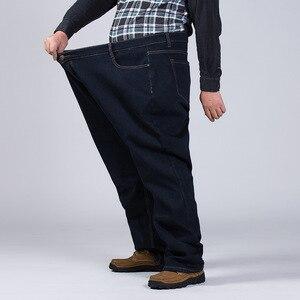 Image 3 - 2020 150KG chaud jean épaissir noir hommes élastique taille haute homme hiver pantalon grande taille 44 46 48 50 52 classique Denim polaire pantalon