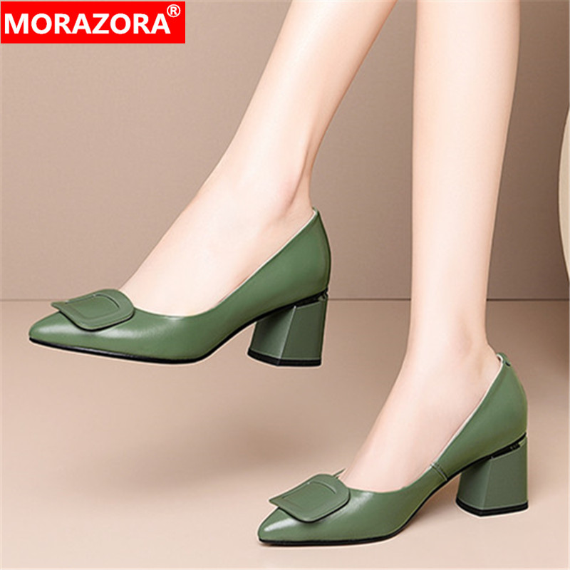 MORAZORA Big Size 34-45 2020 Fashion Women Pumps Genuine Leather Shallow Ladies Shoes Summer Simple Pointed Toe Shoes Woman