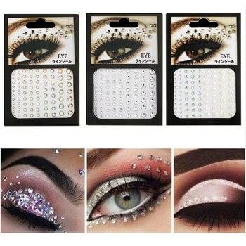 Fashion Women Tattoo Diamond Makeup Eyeliner Eyeshadow Face Sticker Jewel Eyes Makeup Crystal Eyes Sticker 3