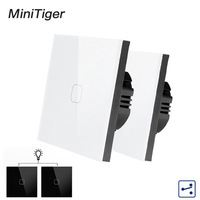 Minitiger 1/2 Gang 2 Way EU Standard Control Wall Touch Screen Switch,White Crystal Glass Panel,cross/through switch,2pcs/pack